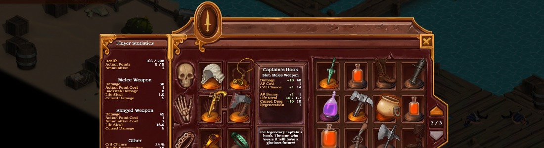 Many items in the player inventory